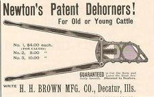 NICE 1894 NEWTON'S PATENT CATTLE DEHORNER AD H. H. BROWN MFG DECATUR IL ILLINOIS
