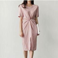 19e812523e Dress Women Fashion Fork The Split Vintage Waist Natural Neck Round Loose  Color Solid New Summer