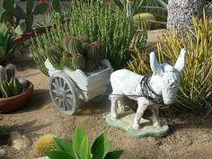 Vintage Donkey Burro And Cart Planter Concrete Yard Garden