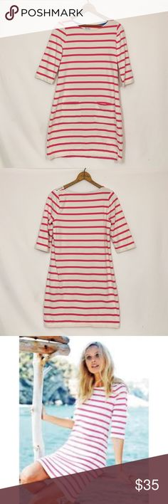 "BODEN cotton Breton tunic striped pink ivory A very minimal amount of wash wear is present; however, Boden typically has this characteristic at purchase so this may be original. Otherwise excellent condition! Bust 36"" waist 35"" hip 40"" length 34"" Boden Dresses Mini"