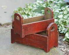 Wooden Boxes - Distressed Rusty Red