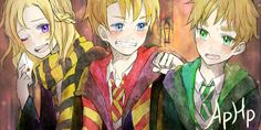 hetalia: APHP [A Harry Potter Hetalia Roleplay Crossover] from right to left: France, America, England
