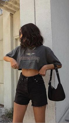 Bar Outfits, Crop Top Outfits, Retro Outfits, Girly Outfits, Grunge Outfits, Cute Casual Outfits, Simple Outfits, Stylish Outfits, Summer Outfits