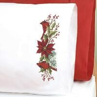 Herrschners® Poinsettia & Cardinals Pillowcase Pair Stamped Cross-Stitch