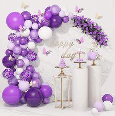 Purple Balloons, Metallic Balloons, White Balloons, Confetti Balloons, Purple Birthday Decorations, Purple Baby Shower Decorations, Baby Shower Purple, Balloon Garland, Balloon Decorations