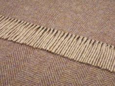 BRONTE VARIEGATED HERRINGBONE GRAPE THROW BLANKET 100% SHETLAND WOOL 140X 185cms
