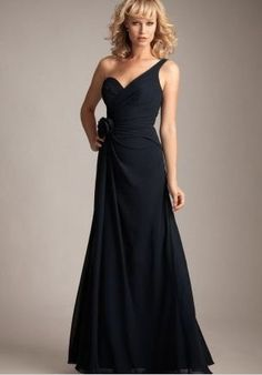 Discount Chiffon One-Shoulder Sweetheart A-Line Long Bridesmaid Dress With Handmade Flower Free Measurement