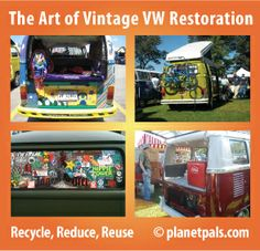 More flower power to u vw! The art of restoring vintage vdubs the #recycle way! #rving #camping #reuse #upcycle