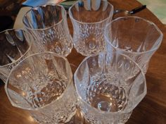 Lead crystal cut glass wine goblets by WhiskeysWhims on Etsy