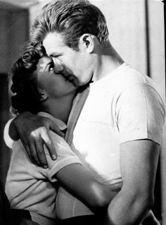 "Natalie Wood (1938-1981), with actor James Dean (1931-1955), in Nicholas Ray's film, ""Rebel Without a Cause,"" 1955."