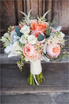 Peach and ivory is a very soft and tender color scheme, perfect for a spring or summer wedding. These two creamy colors are ideal for any type of décor: garlands and buntings, chair and table décor. You can find any type of flowers in these shades, and your bouquet...