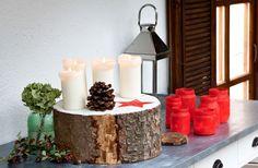 Adventskranz basteln: Wie ihr einen günstigen, festlichen Adventskranz aus einer Baumstammscheibe bastelt! Eine einfache Idee zum schnellen Selbermachen.