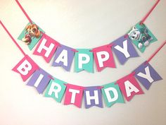 Paw Patrol birthday Banner, Sky and Everest party, Paw Patrol Party, Girl birthday banner Paw Patrol birthday Banner Sky and Everest party Paw Patrol Girl Paw Patrol Birthday, Girl Paw Patrol Party, Sky Paw Patrol, Paw Patrol Cake, 2nd Birthday Party Themes, 1st Boy Birthday, Fete Emma, Paw Patrol Party Decorations, Pink Purple