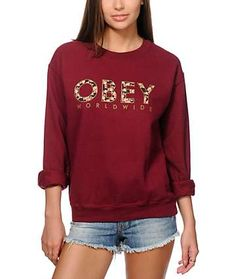 Obey Floral Worldwide Maroon Throwback Crew Neck Sweatshirt