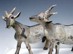 Ceramics by Celia Allen at Studiopottery.co.uk - 2012. Goats, 25cm high, 23cm long, Raku