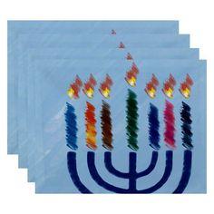 E by Design Hanukkah Illumination Geometric Print Placemat - Set of 4 Light Blue - PT4GHN575BL24