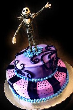 Jack Skellington Cake...Gina I might need you to make this for one of our friends. Lol your the cake guru!! Lol