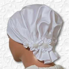 Modest Wedding Bride Bridal Cap with Flowers to wear under a veil