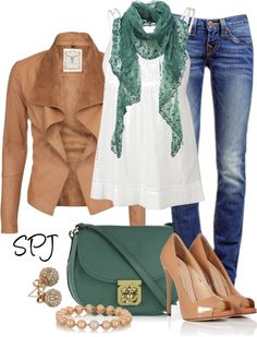 """Tan & Green"" by s-p-j ❤ liked on Polyvore"
