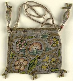 """""""Book or sweete bag, late 16th C. 'Sweete Bags' were often given as gifts themselves or used as container for gifts, such as gold coins. They are some of the best known examples of Elizabethan embroidery, due to the large number which have survived to the present day. It is likely that they have survived in such numbers because the beauty of the items has made them desirable since they were first made."""""""