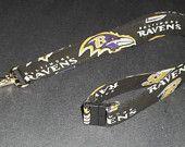 Breakaway ID Holder Lanyard Keychain Key Fob Baltimore Ravens NFL Cotton Fabric Washable Soft