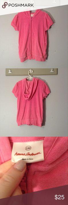 Pink Short Sleeve Zip Up A pink, Hanna Andersson, short sleeve zip up with a hood. Hanna Andersson Shirts & Tops