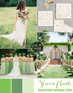 Soft green wedding - Green Flash Wedding Theme { Pantone Spring 2016 }