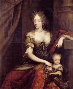 Charlotte Amalie of Hesse-Kassel and her child in 1690.