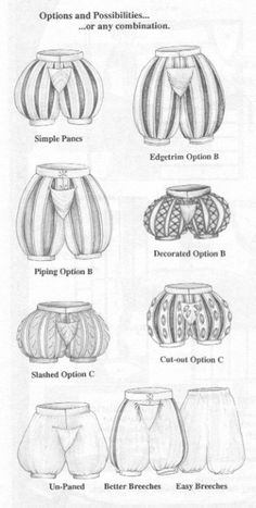 "This image shows the various shapes and designs of men's ""slops"" or ""breeches"" during the Elizabethan era. Stockings would be worn underneath these pants."