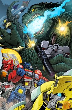 Oh scrap...y'all are fighting The King of the Monsters?! You might want back up from Metroplex and a Jaeger, there's good reason Godzilla is king.