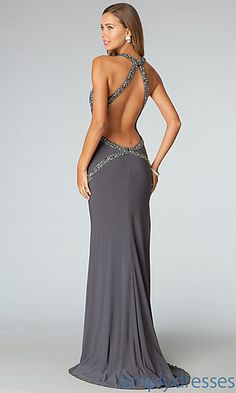 Open Back Long Jersey Gown JVN by Jovani  at SimplyDresses.com