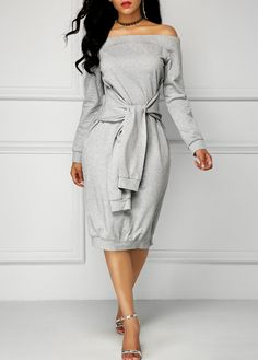 Long Sleeve Tie Front Grey Bardot Dress on sale only US$30.90 now, buy cheap Long Sleeve Tie Front Grey Bardot Dress at liligal.com