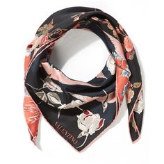 Valentino Red Garden Party Silk Scarf (£240) ❤ liked on Polyvore featuring accessories, scarves, silk shawl, valentino scarves, silk scarves, floral shawl and floral print scarves