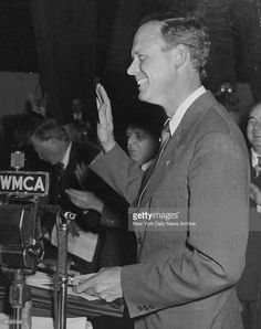 Charles A. Lindbergh greets crowd at America First Committee meeting.