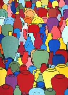 "artmastered: "" Patrick Caulfield, Pottery, oil on canvas, x cm, Tate Collection. Popular Artists, Arte Popular, Art Pop, Gary Hume, James Rosenquist, Simpsons, Street Art, Tate Britain, Ligne Claire"