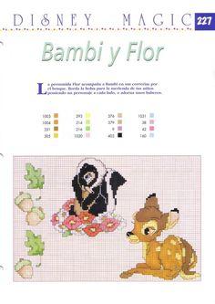 Cross-stitch Disney Bambi & Flower the skunk