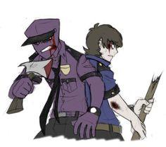 Richard the purple guy and mike schmidt Five Nights At Freddy's, Overwatch, Fnaf Mike Schmidt, Fnaf Security Guards, Fnaf Night Guards, Pedobear, Fnaf Baby, Fnaf Wallpapers, William Afton