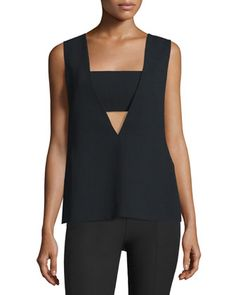 Sleeveless+Crepe+Bandeau+Top,+Black+by+T+by+Alexander+Wang+at+Neiman+Marcus.