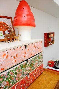 Decoupaged housewares: stool, drawers and table. - Mod Podge Rocks