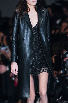 Saint Laurent Fall 2013 _ leather and lace