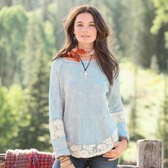 """WASATCH WAFFLE KNIT TOP--A longtime favorite silhouette of the Sundance woman, now in a lace-inset raglan-sleeve top design, with lace details at the sleeves and hem. Cotton. Machine wash. Imported. Exclusive. Sizes XS (2), S (4 to 6), M (8 to 10), L (12 to 14), XL (16). Approx. 26""""L."""