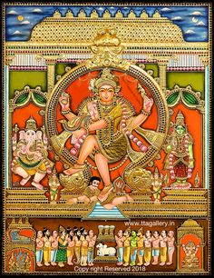 Tanjore Painting using 22 carat original gold foil and embossing, semi precious stone and chettinad teak wood frame. Krishna, Balaji, Durga and more. Mysore Painting, Kerala Mural Painting, Tanjore Painting, Indian Artwork, Indian Folk Art, Indian Paintings, Shiva Art, Ganesha Art, Hindu Art
