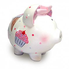 Make saving a child's coins even sweeter with the Personalized Cupcake Piggy Bank! Its deliciously cute, hand-painted design is perfect for a nursery, baby shower, birthday and every occasion in between.