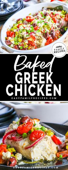 Baked Greek Chicken on a plate - Easy Family Recipes Food Greek Chicken Breast, Baked Greek Chicken, Honey Chipotle Chicken, Greek Potatoes, Greek Seasoning, Pizza, Keto, Yummy Chicken Recipes, Easy Family Meals