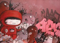 Tomorrow comes today - new painting ( triptych) by Astro One, via Behance