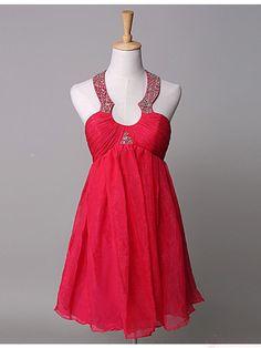A-line Halter Short Beading Sequins Homecoming Dresses Cocktail Dresses (ED1303)