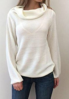 White Plain Hollow-out Long Sleeve Fall Casual Sweater - Pullovers - Sweaters - Tops