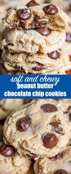 Ultra soft and chewy peanut butter chocolate chip cookies. These easy peanut butter cookies stay soft for days and freeze well. Add chocolate chips, white chocolate chips or even butterscotch chips to this cookie recipe. via @tastesoflizzyt