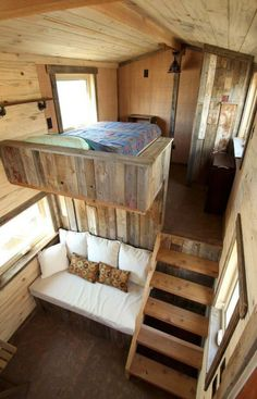 Sustainable Architecture with a Tiny House on Wheels Master Bedroom and Living Room. Sustainable Architecture with a Tiny House on Wheels. By SimBLISSity. Tiny House Cabin, Tiny House Living, Tiny House Plans, Tiny House Design, Tiny House On Wheels, Rustic House Design, Modern Tiny House, Loft House, House Beds