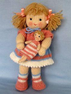 Lulu e la sua piccola bambola Knitted Dolls Free, Crochet Poncho Patterns, Amigurumi Patterns, Crochet Dolls, Baby Patterns, Knitting Patterns, Knitting Projects, Crochet Projects, Teddy Bear Knitting Pattern
